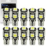 10x T10 W5W LED Bombillas exteriores 5 SMD 5050 Luz Coche trasera Lámpara Blanco Xenon Luz de interior...